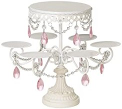 White and Pink Beaded Multi Cake Stand