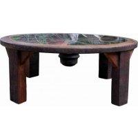 Coffee Table with Wagon Wheel Frame and Glass | Coffee ...
