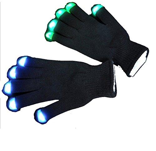 A&S Creavention RaveGlove 7 Mode LED Rave Light Finger Lighting Flashing Glow Gloves (Black)
