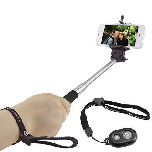 "Selfie Stick with Bluetooth Remote for Smartphones - With Universal Phone Holder up to 3.25 Inch in Width - Adjustable Handheld Monopod 11"" - 40"" - Light, Compact, Easy to Carry"