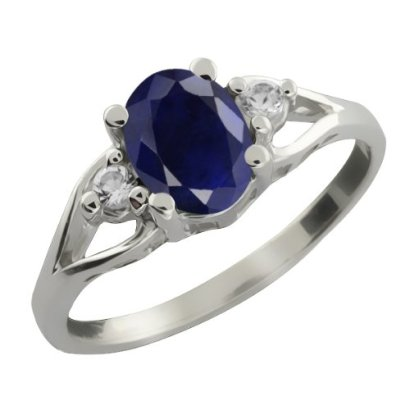 183-Ct-8x6mm-Oval-Blue-Sapphire-and-White-Sapphire-925-Sterling-Silver-Ring