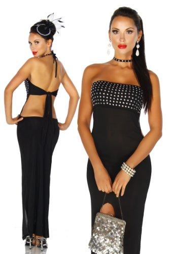 LH-Dessous - 12098 Größe S-M. Langes Kleid mit einem Schlitz an der Vorderseite. Das Kleid ist in der Brustgegend komplett mit Strassteinen besetzt. Es wird im Rücken variabel gebunden. Das passende Strass-Halsband ist inklusive