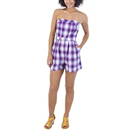 Product Image Mossimo Supply Co. Juniors Cambric Strapless Romper - Purple Plaid