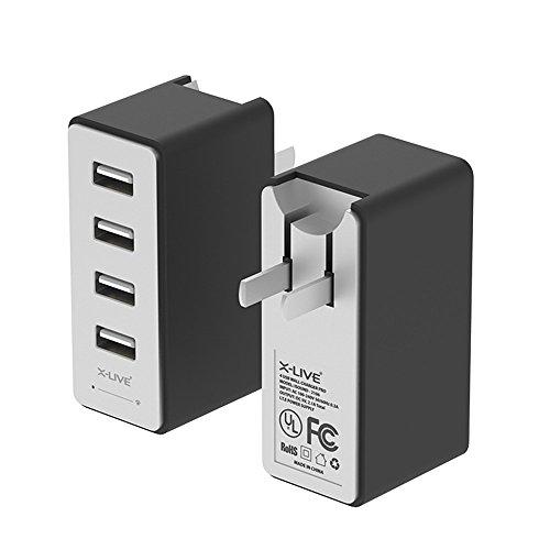X-LIVE USB充電器(17W3.4A 4ポート)ACアダプタ 急速充電 / iPhoneAndroid対応 / 折畳式プラグ搭載(ブラック)