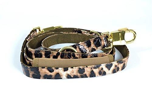 BELLOMANIA Vegan Leather Adjustable Dog Leash, Large, Leopard, Taupe