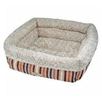 Pooch Planet Plush Perfection Pet Bed Blue/brown Striped ...