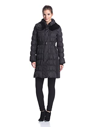 Via Spiga Women's Down Coat with Rabbit Fur Collar (Black)