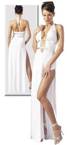 Elegantes langes Abendkleid hochgeschlitzt weiß - Gr. XL