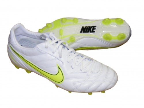 Nike Fußballschuhe Tiempo Classic FG Lite weiß-volt, Größe:US 12 (46)