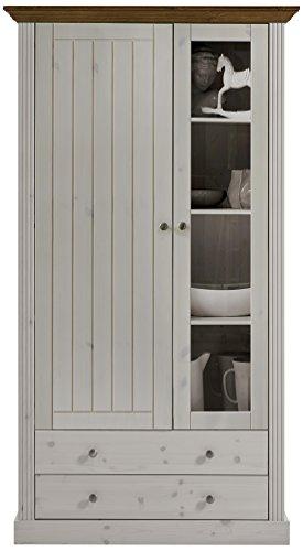 Steens 3171320264001F Vitrine Monaco, 104 x 190 x 42 cm, Kiefer massiv, weiß Provence