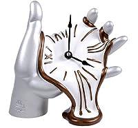【antartidee】 イタリア直輸入 「陶器製ハンドメイド」 デザイン置時計 TABLE CLOCK HAND / 1051 【aluminium-white】