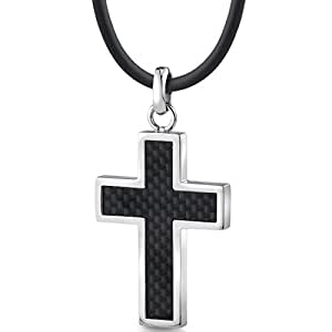 Stainless Steel Mens Cross Pendant Necklace with Carbon