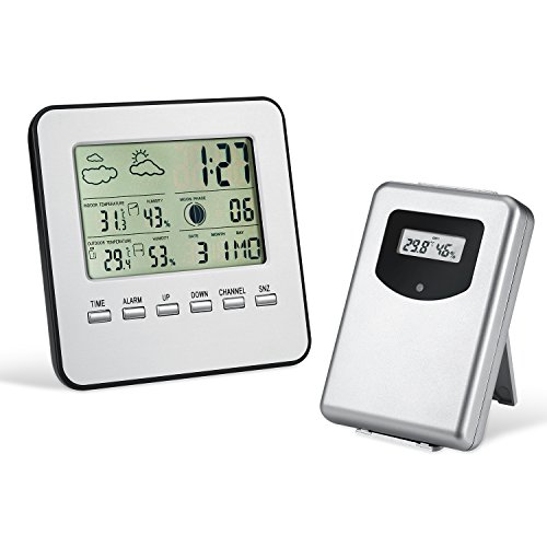 Wireless Weather Station, Amir® Indoor/Outdoor Wireless Digital Home Weather Forecaster Station with Thermometer, Humidity, Weather Forecast, Clock, and More