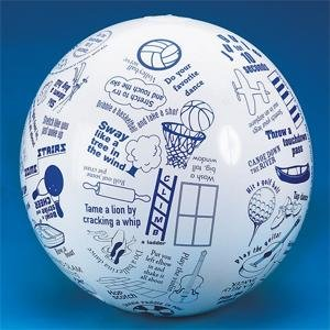 Beachball with pictures and text on it