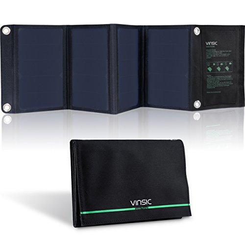 Vinsic® ソーラーチャージャー 22W/5V 高効率太陽電池パネル 折りたたみ式ソーラーパネル ポータブル ソーラー充電器 2ポート同時充電可能(ブラック)