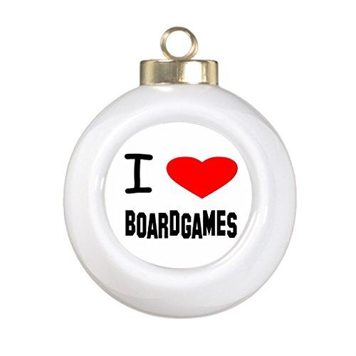 I Heart Boardgames Ceramic Christmas Ornament