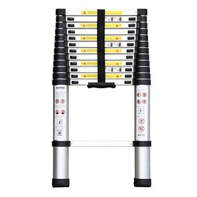 Ollieroo-EN131-Aluminum-Telescopic-Extension-Ladder-with-Spring-loaded-Locking-Mechanism-Non-Slip-Ribbing-330LB-Capacity