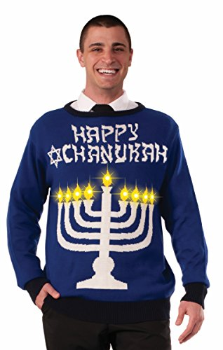 Ugly Chanukah Light Up Menorah Sweater – 3 Sizes &#821
