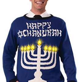 Ugly Chanukah Light Up Menorah Sweater – 3 Sizes – Med – XL