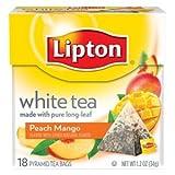 Lipton White Tea Island Mango & Peach Pyramid Tea Bags, 20 ct (Pack of 6)