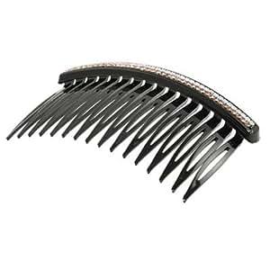 women dual row rhinestone inalid metal b hair clip clamp black decorative hair