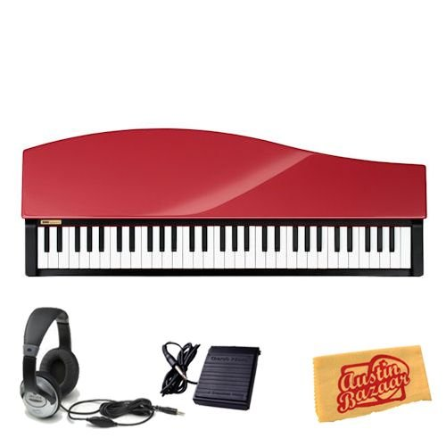 Korg microPIANO Compact Digital Piano Bundle with Sustain Pedal, Headphones, and Polishing Cloth - Red