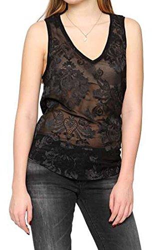 Replay Damen Bluse ärmellose , Farbe: Schwarz