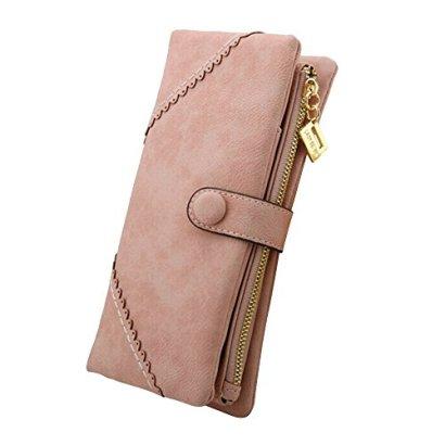 Benry-Women-Fashion-Long-Leather-Wallet-Button-Clutch-Purse-Lady-Card-Holder-Handbag-Bag-Pink