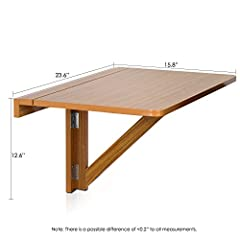 Furinno FNAJ-11019EX Wall-Mounted Drop-Leaf Folding Table, Cherry