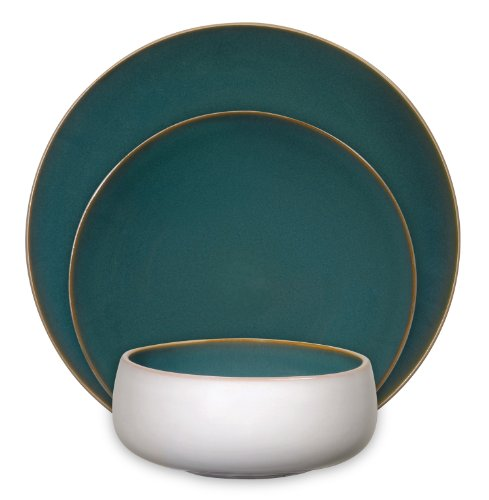 Gibson Urban Bistro 12-Piece Reactive Tutone Stoneware Dinnerware Set, Blue/Cream