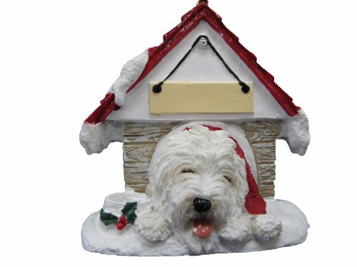 Old English Sheepdog Doghouse Xmas Ornament