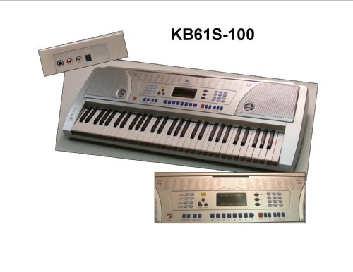 61 Keys Keyboard Full Size Student Electronic Digital Piano - Silver - with Notes Holder & AC Adapter & DirectlyCheap(TM) Translucent Blue Medium Guitar Pick