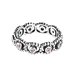 1 Sterling Silver Pink Romance Crown Ring, Compatible With