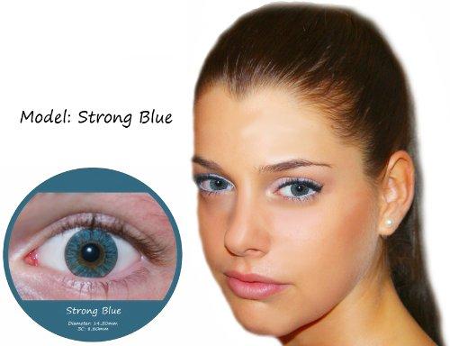 Farbige Kontaktlinsen Blau 3 Monatslinsen Contact lenses Design: StrongBlue
