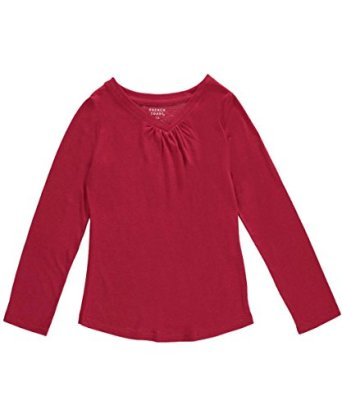 French-Toast-Big-Girls-Ruched-V-Neck-LS-T-Shirt-red-14-16