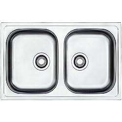 Franke EFN 620 - 78 Euroform - Lavello da incasso in acciaio inox con 2 vasche e scolapiatti laterale, texture seta
