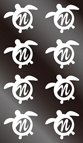nc-smile イニシャル ハワイアン ホヌ 英字 アルファベット デコレーション シール ステッカー N ホワイト