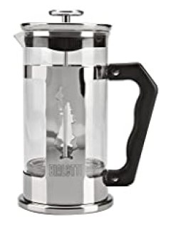Bialetti Preziosa 8 Cup French Press Coffee Maker, Stainless Steel, Silver