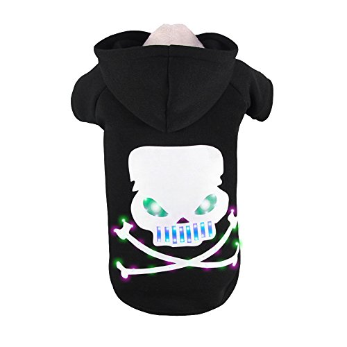 Royal Wise Pet Dog LED Light up Skull Bone Hoodie Sweater Coat Clothes (M)