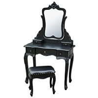 French Shabby Chic Black Dressing Table with Mirror