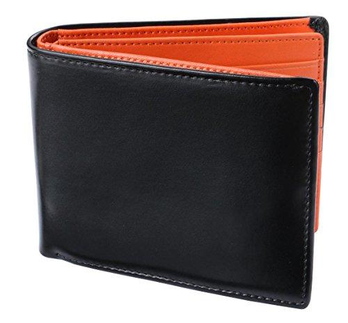 Legare 財布 二つ折り レザー 革財布 メンズ カード たくさん入る 2つ折り財布 10色 (ブラック×オレンジ) 41r3R2qn2UL