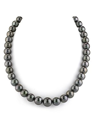 14K-Gold-GLA-CERTIFIED-Black-Tahitian-South-Sea-Cultured-Pearl-Necklace-AAAA-Quality-18-Length
