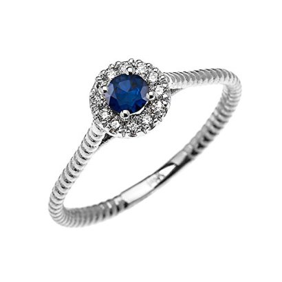 10k-White-Gold-Dainty-Halo-Diamond-and-Solitaire-Sapphire-Rope-Design-Promise-Ring