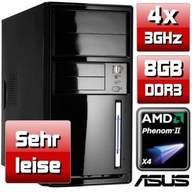 Sehr leiser PC - shinobee #4223 - Allround Quad-Core! PC-System mit AMD Phenom II X4 945 4 x 3000 MHz, 640GB SATA, 8192MB DDR3, ASUS Mainboard, Radeon HD 3000 1024 MB mit DVI und VGA, 22 x DVD±RW, CardReader, 7.1 Sound, Gigabit-LAN, Windows 8 ready!