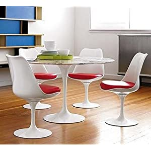"39"" Eero Saarinen Style Tulip Dining Table with White Marble Top and 4 Tulip Side Chairs"