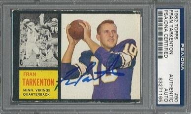 FRAN TARKENTON SIGNED 1962 TOPPS VIKINGS ROOKIE CARD #90 PSA/DNA Auto RC