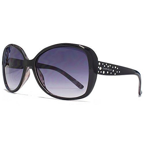 Carvela Glam Diamante Sonnenbrille schwarz auf Snake-Print CAR018