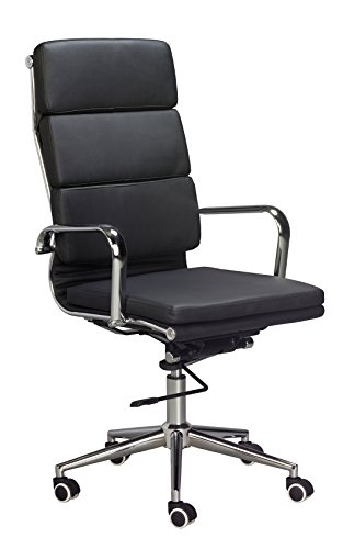 Eames Replica High Back Office Chair - BLACK Vegan Leather, thick high density foam, stabilizing bar swivel & deluxe tilting mechanism