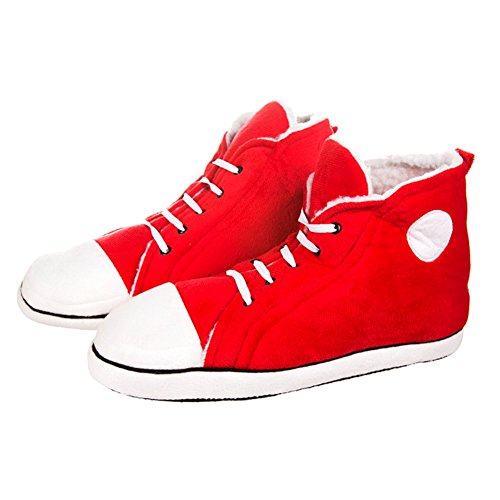 Mens Funky Retro Sneakers Style Plush Hi-Top Plush Slippers - Red