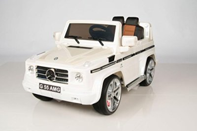 Licensed-2015-Model-12V-Mercedes-G55-Premium-Ride-On-SUV-With-Remote-MP3-input-Upgraded-with-Rubber-tires-Tan-leather-seat-Bluetooth-Remote-for-Parents-and-Painted-Body